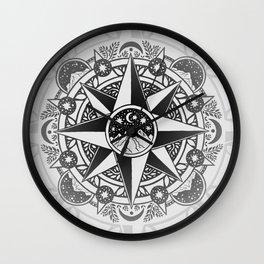 Journey to Moon Mountain | Black & Grays Wall Clock