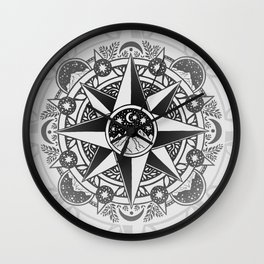 Journey to Moon Mountain | Black & Grays Wall Clock