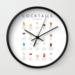 Cocktail Chart - Todays Specials Wall Clock