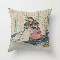 korean Throw Pillows featuring Korean Bride 1952 by Nancy Smith