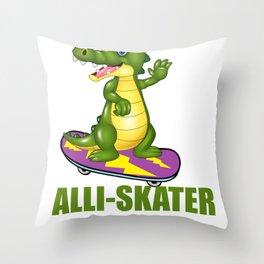 Alli Skator Alligator Skating Pun Design Throw Pillow