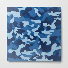 Blue Camouflage Metal Print