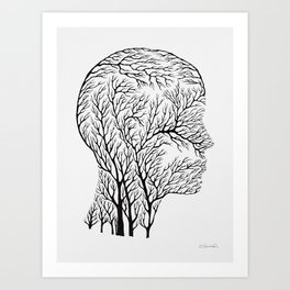 Head Profile Branches - Black Art Print
