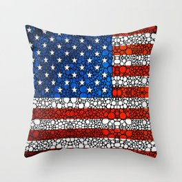 American Flag - USA Stone Rock'd Art United States Of America Throw Pillow