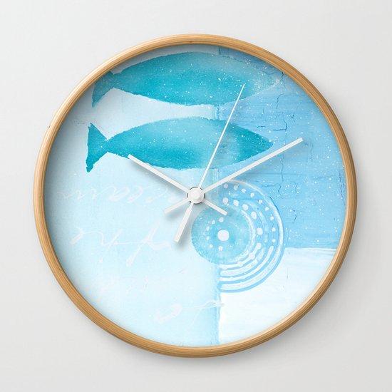 Blue fish wall clock by lebensart society6 for Fish wall clock