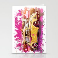 volkswagon Stationery Cards featuring yellowinpink beetle bug by Vector Art