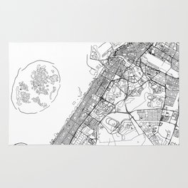 Dubai White Map Rug