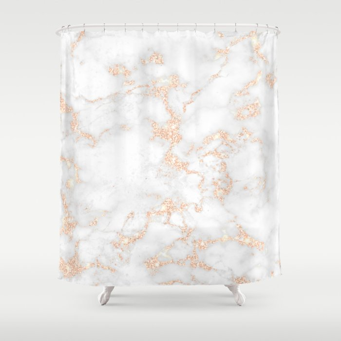 Rose Gold Glitter Marble Shower Curtain