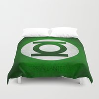 green lantern Duvet Covers featuring Green Lantern by whosyourdeddy