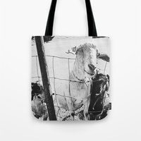 goat Tote Bags featuring Goat by Leah Flores