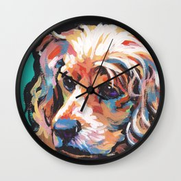 fun English Cocker Spaniel bright colorful Pop Art painting by Lea Wall Clock