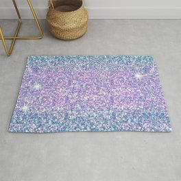 Blue & Lilac Mermaid Glitter Ombre Rug