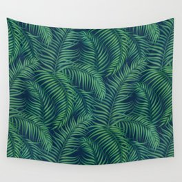 Night tropical palm leaves Wall Tapestry