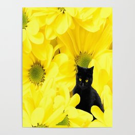 Black Cat Yellow Flowers Spring Mood #decor #society6 #buyart Poster