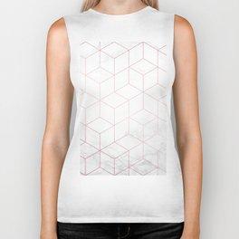 Rose Gold Geometric White Mable Cubes Biker Tank