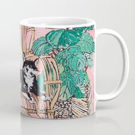 Two Cats - Pink Interior with Cane Chair and Plants Coffee Mug