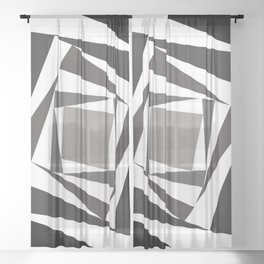 Abstract black white squares Sheer Curtain