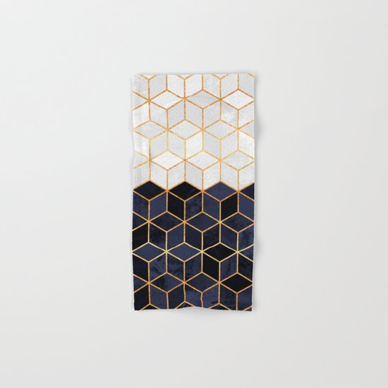 White & Navy Cubes Hand & Bath Towel