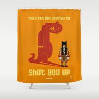 captain hook Shower Curtains featuring HOOK : Huge Hook by SimonCARUSO.com