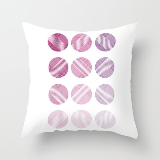 Line Round Throw Pillow