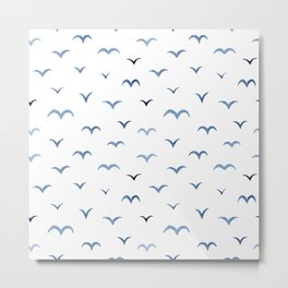 Muted-blue abstract birds minimalistic pattern Metal Print