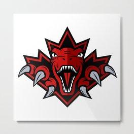 Dino Red Leaf Metal Print