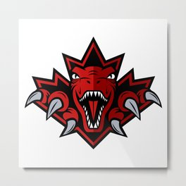Dino Red Leaf Metal Print