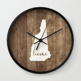 New Hampshire is Home - White on Wood Wall Clock