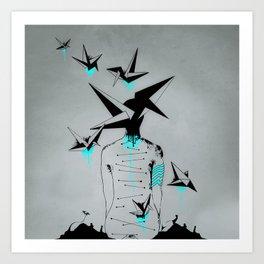 Origami's dream - A collaboration between Christelle Guilhen and Gwenola de Muralt - Art Print