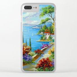 Sunny beach by the sea Clear iPhone Case