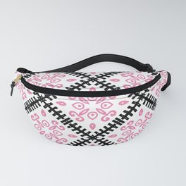 Moroccan Inspired Pink and Black Tile-Graphic Design   Fanny Pack