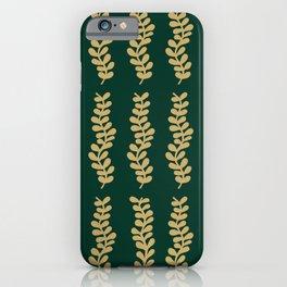 Golden Vines on Emerald Green iPhone Case