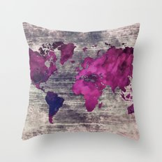 World map watercolor 7 Throw Pillow