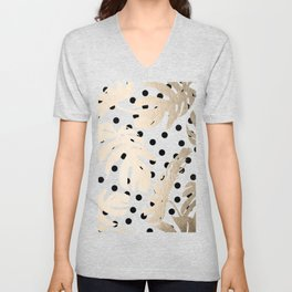 Simply Tropical White Gold Sands Palm Leaves on Dots Unisex V-Neck