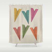 planes Shower Curtains featuring Paper Planes by coalotte