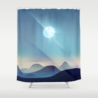 northern lights Shower Curtains featuring Northern Lights Abstract by Alyn Spiller