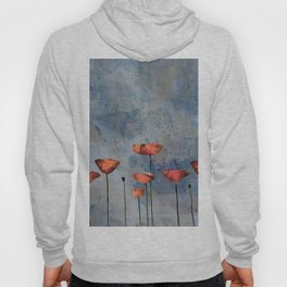 Poppyfield against the blue sky - abstract watercolor artwork Hoody