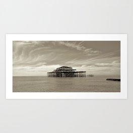 Old Brighton pier. Art Print