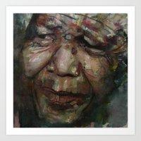 mandela Art Prints featuring Mandela by Paul Lovering Watercolors