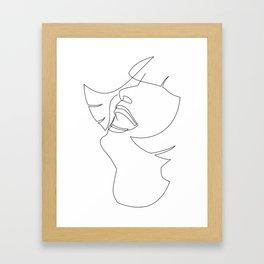 Laughing Flapper Line Art Framed Art Print
