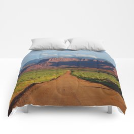 Road Home - Mountains and Desert, Moab Utah Comforters