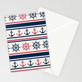 Blue Pink Sea Navy Pattern Stationery Cards
