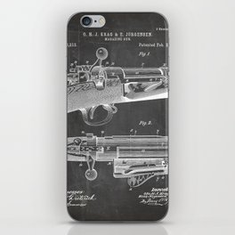 Bolt Action Rifle Patent - Repeating Receiver Art - Black Chalkboard iPhone Skin