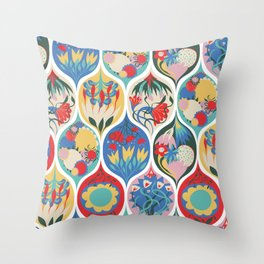 Floral Deco Ogee Throw Pillow