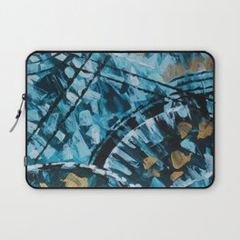 Turquoise and Gold Abstract Painting Laptop Sleeve