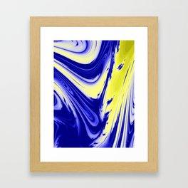 Swirls Of Blue and Yellow Framed Art Print