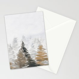 Watercolor Pine Trees 3 Stationery Cards