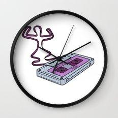 Compact Cassette Tape Raising Up Arm Mono LIne Wall Clock