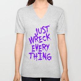 Just Wreck Everything Violet Blue Grunge Graffiti Unisex V-Neck