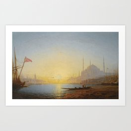 Amédée Rosier 1831 - 1898 FRENCH VIEW OF CONSTANTINOPLE Art Print